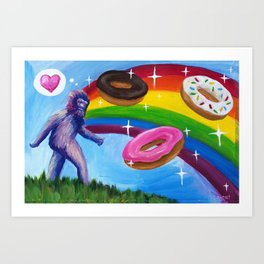 Sasquatch with Rainbow and Donuts Art Print