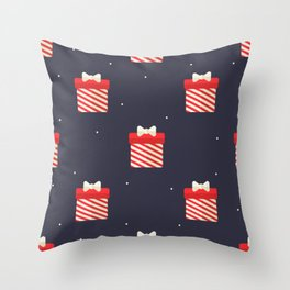 Red Christmas Gift Pattern Throw Pillow
