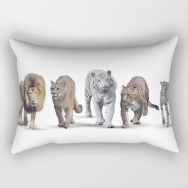 Group of Wild cats on white background Rectangular Pillow