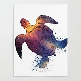 Watercolor Space Turtle Poster