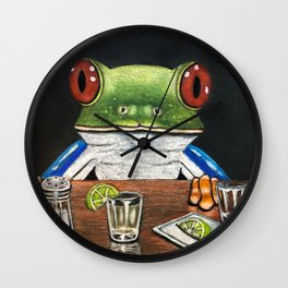"""""""Tequila Frog"""" - Frogs After Five collection Wall Clock"""