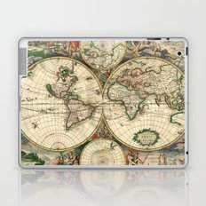 Old map of world hemispheres. Created by Frederick De Wit, 1668 Laptop & iPad Skin