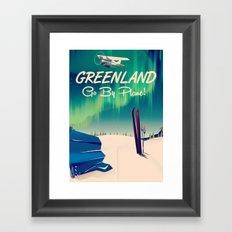 Greenland - Go by Plane! vintage poster Framed Art Print