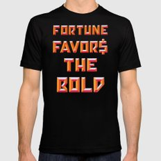 FORTUNE FAVORS THE BOLD Mens Fitted Tee MEDIUM Black