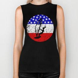 American Flag Windsurfing Biker Tank