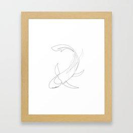 koi - one line fish art Framed Art Print