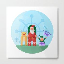 Santa Claus, Reindeer and his trusty friend Elf Metal Print
