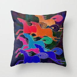 Batik Horses Throw Pillow