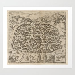 Historical Map of Damascus Syria (1575) Art Print