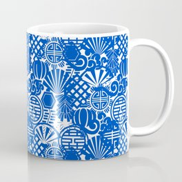 Chinese Symbols in Blue Porcelain Coffee Mug