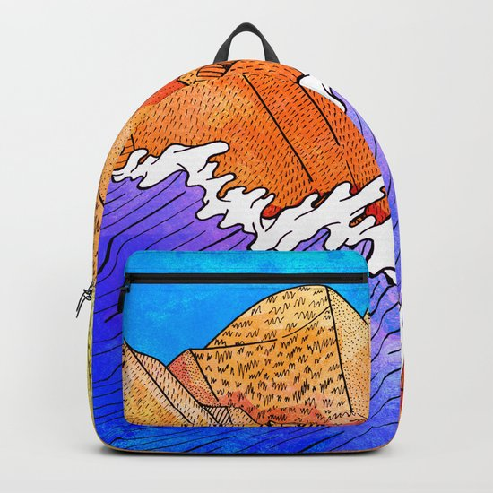 As the waves hit the sandy cliffs Backpack