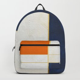 Orange, Blue And White With Golden Lines Abstract Painting Backpack