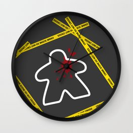 Dead Meeple Crime Scene Wall Clock