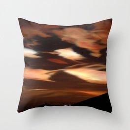 Cirrus clouds, morning, Antarctic winter landscape photograph Throw Pillow