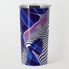 8041s-KMA Blue Nude Young Woman Striped with Light and Radiating Power Travel Mug