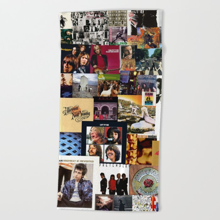 Classic Rock And Roll Albums Collage Beach Towel
