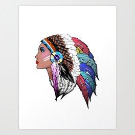 Native American woman,Indian American design Art Print
