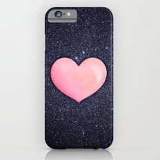 Pink heart on shiny black iPhone 6 Slim Case