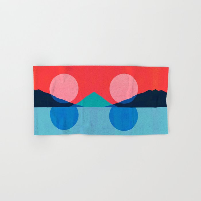 Abstraction_Mountains_SUNSET_Reflection Hand & Bath Towel