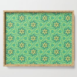 green yellow geometric floral pattern Serving Tray