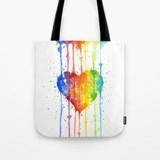 Heart Rainbow Watercolor Love Wins Colorful Splatters Tote Bag
