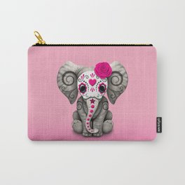 Pink Day of the Dead Sugar Skull Baby Elephant Carry-All Pouch