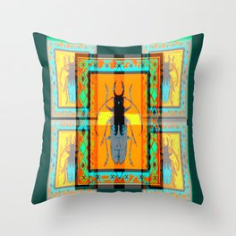 WESTERN TEAL TURQUOISE BEETLE ORANGE ART DESIGN Throw Pillow