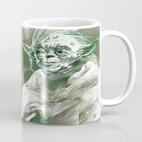 yoda Mugs featuring Yoda by Luis Dourado