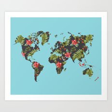 tropical map Art Print