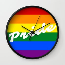 Pride Script Typography Logo LGBT Gay Pride Rainbow Flag Wall Clock