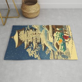 Japanese Woodblock Print Vintage Asian Art Colorful woodblock prints Shrine At Night Snow White Rug