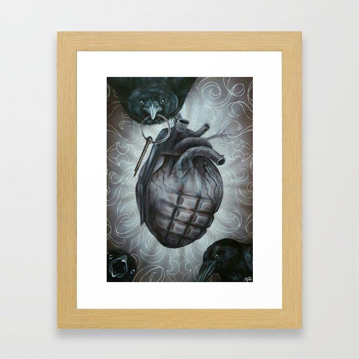 pin pulled heart grenade Framed Art Print