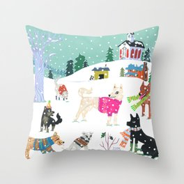 Winter Jindos Throw Pillow