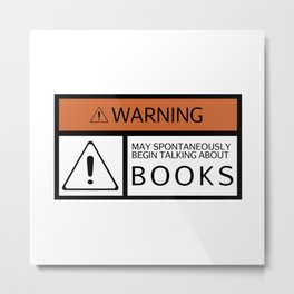 WARNING: Books Metal Print