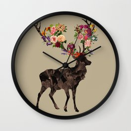 Spring Itself Deer Flower Floral Tshirt Floral Print Gift Wall Clock