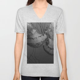 Jellyfish (Black and White) Unisex V-Neck