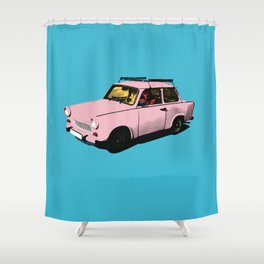 Trabant pink pop Shower Curtain