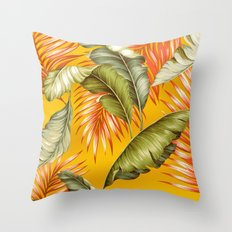 HAWAIIAN GARDEN TROPICAL LEAVES | golden yellow orange Throw Pillow