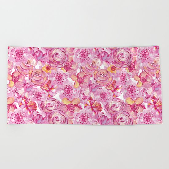 Rose pattern - Floral roses watercolor pattern Beach Towel