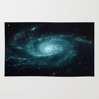 galaxy Area & Throw Rugs featuring Spiral gALAxy Teal by 2sweet4words Designs
