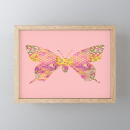 Butterfly Vintage Floral Pink Yellow Shabby Chic Framed Mini Art Print