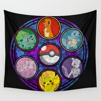stained glass Wall Tapestries featuring Stained Glass by Mazuki Arts