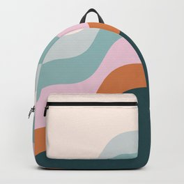 Abstract Diagonal Waves in Teal, Terracotta, and Pink Backpack