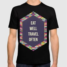 Eat Well Trravel Often Black Mens Fitted Tee MEDIUM