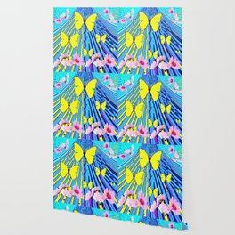 MODERN ART YELLOW BUTTERFLIES PINK FLOWERS BLUE PATTERN Wallpaper