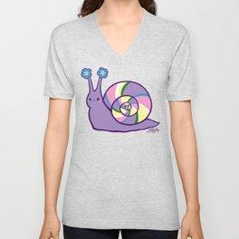 Purple Snail Has Forget Me Nots Unisex V-Neck
