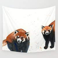 pandas Wall Tapestries featuring Red Pandas by Priscilla George