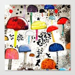 Mein Ein, mein Alles - Mushrooms Abstract Botanical Art - cute animal print - Leopard Muster Canvas Print