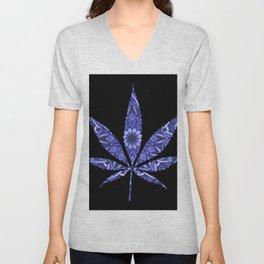 Weed : High Times Blue Floral Unisex V-Neck