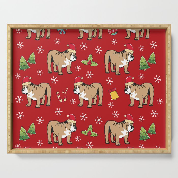 English Bulldog on Christmas Day Serving Tray